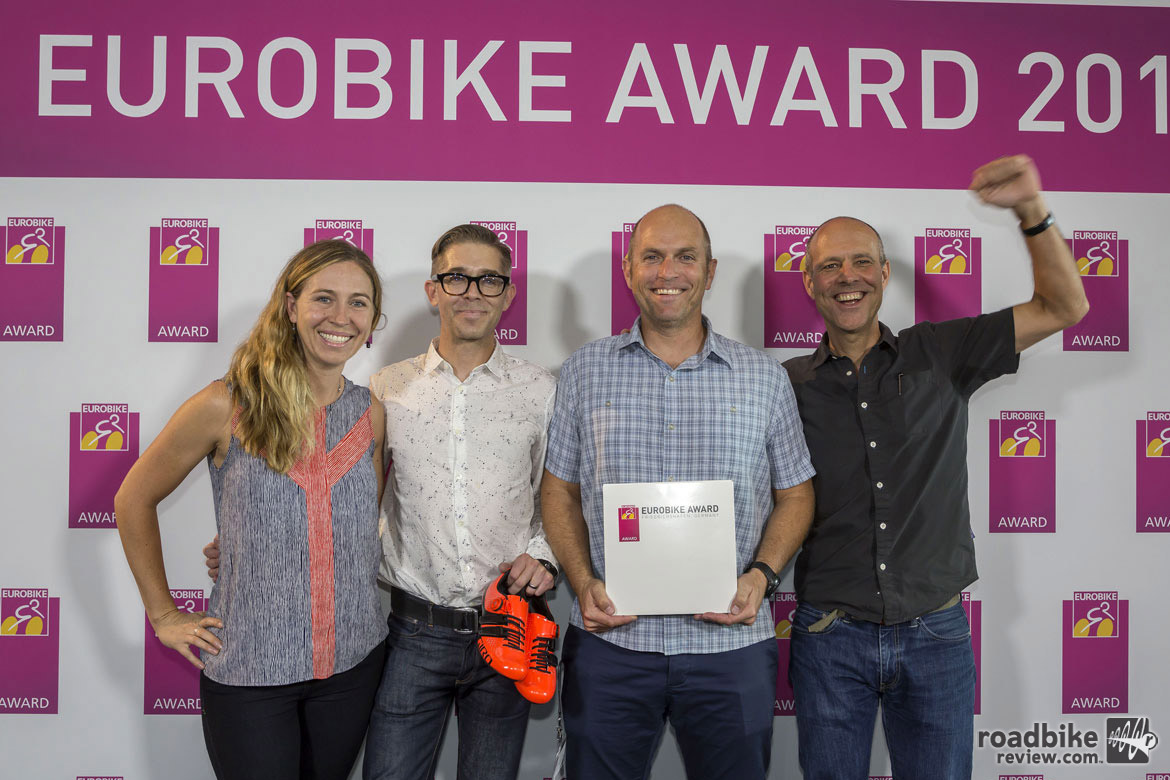 The team from California's Giro rejoices after winning a Eurobike Award for its new Factor Techlace road shoe. Photo courtesy Eurobike
