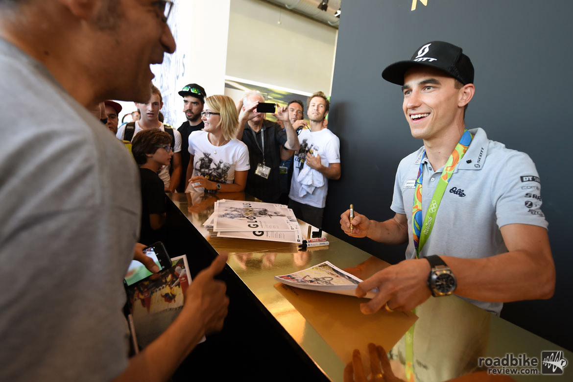 Eurobike is always a great place to spot cycling world stars and few are bigger than the crop of gold medalists from this summer's Olympics in Rio. Here is cross-country winner Nino Schurter, who was signing autographs at the Scott Bikes booth. Photo courtesy Eurobike