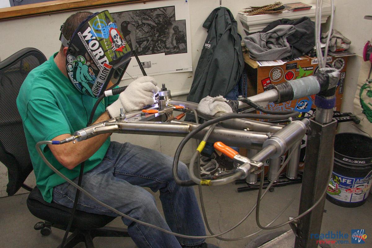 Custom Welding Helmets >> Welding a Moots frame   Road Bike News, Reviews, and Photos