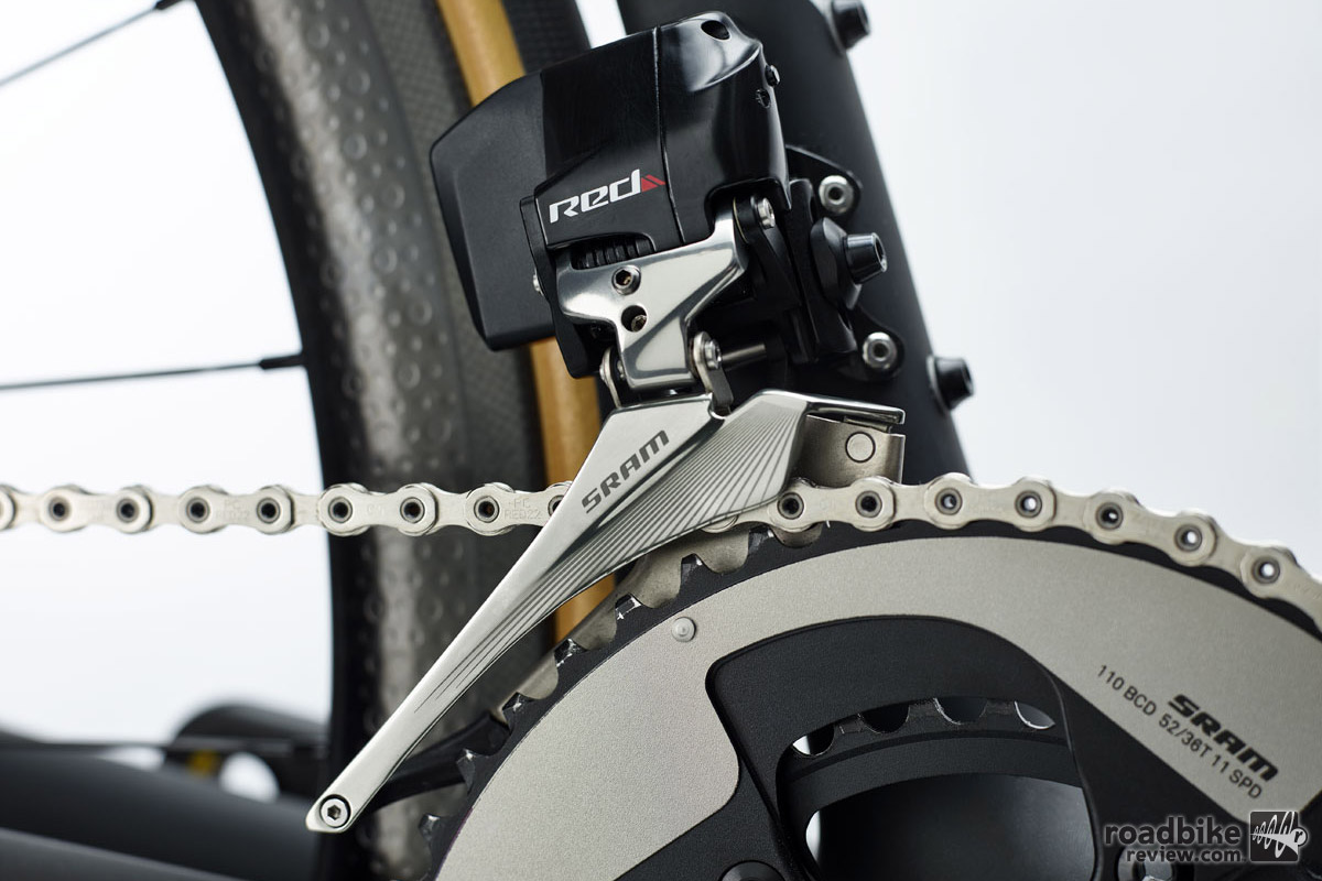 The wireless drivetrain will come with a mid-compact 52-36 chainring set-up.