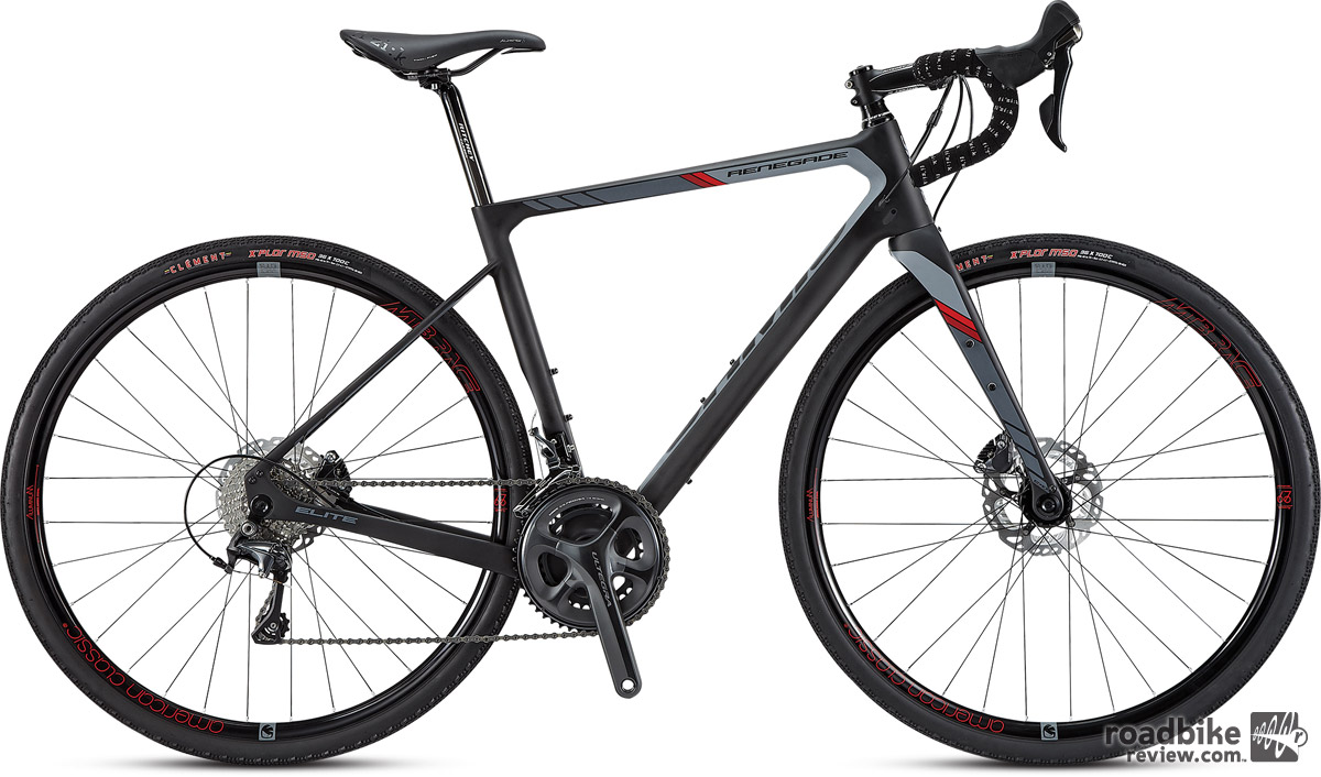 The Renegade Elite ($3900) features an Omniad M30 monocoque frameset, 12mm thru-axle front and rear, Shimano BR-RS805 hydraulic 160mm disc brakes, and Shimano Ultegra 11-speed mechanical drivetrain.
