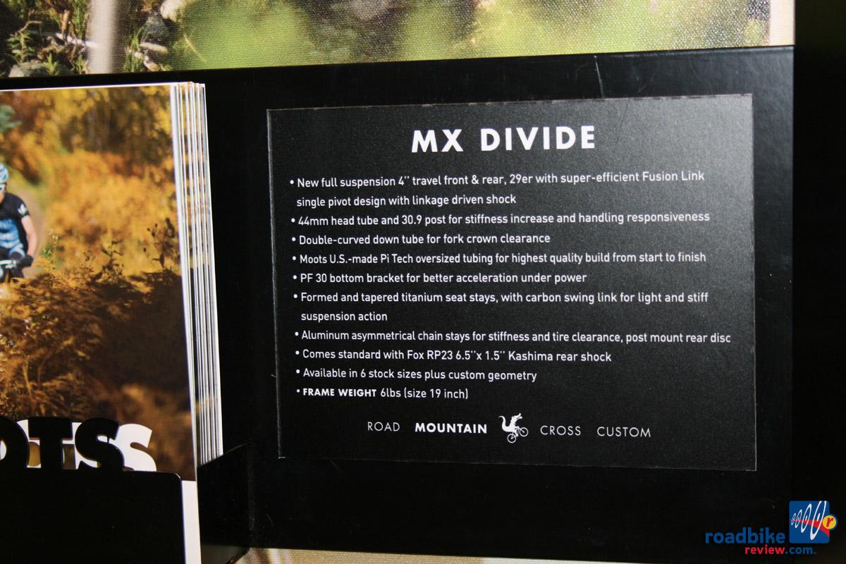 Moots MX Divide - specs