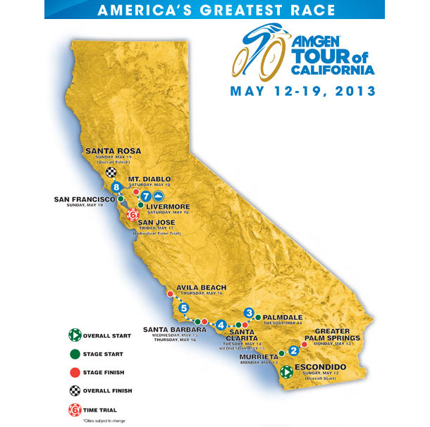 2013 Amgen Tour of California Detailed Map