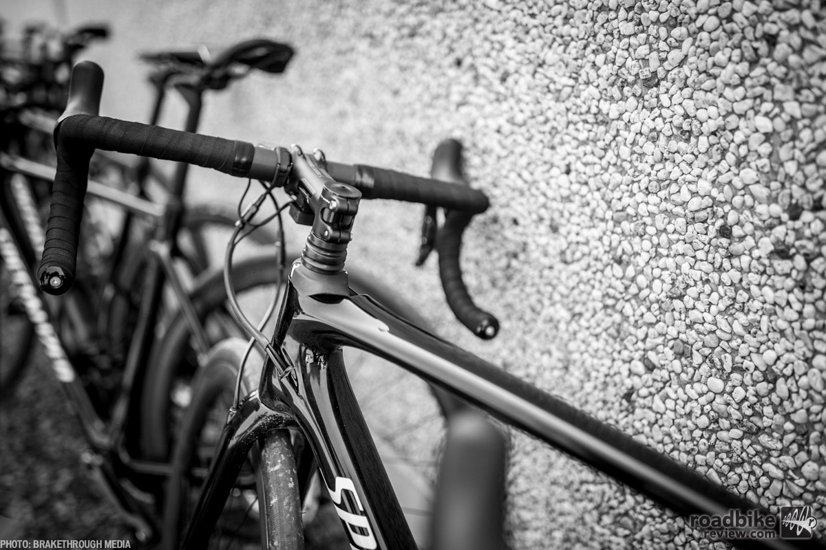 "The ""Futureshock"" sits between the stem and the head tube, offering 20mm of travel for unrivaled axial compliance in the road bike format. Photo by BrakeThrough Media"