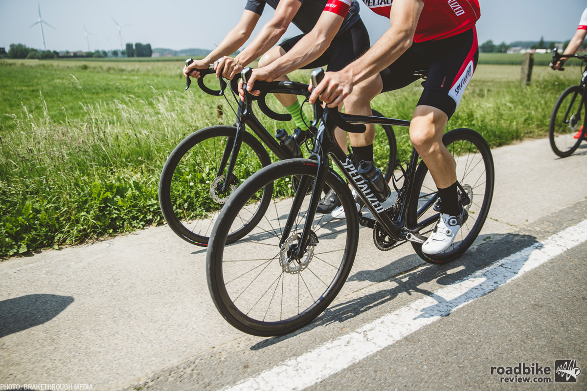 Even on the smoothest of roads, the Specialized Roubaix rolls smooth and efficiently. Photo by BrakeThrough Media
