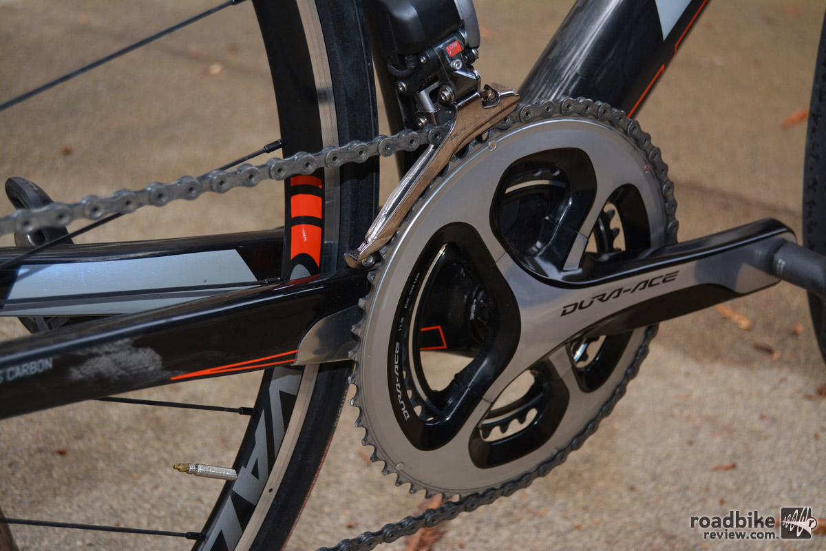 Crankset is Shimano Dura Ace 9000, 52/36T sub-compact -- a spec we really love because it gives you best of both world's functionality.