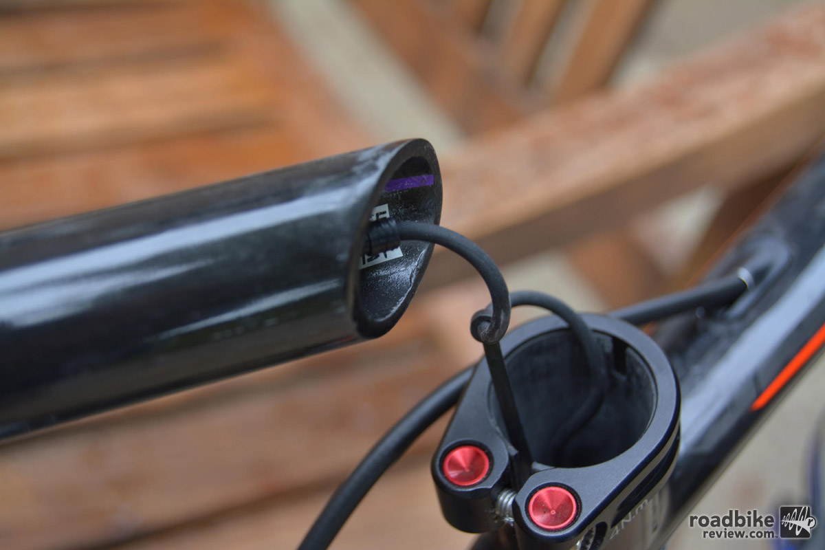 The Di2 battery is housed inside the seat post.
