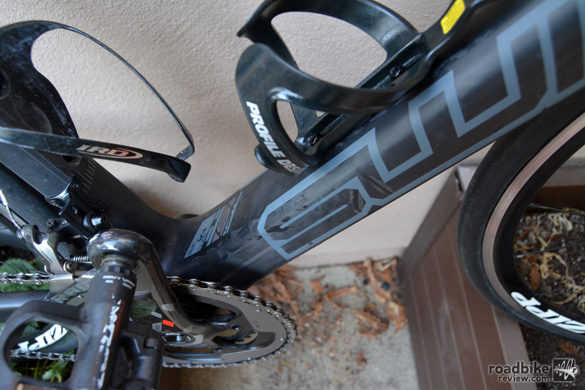 This beefy downtube helped maintain stiffness.