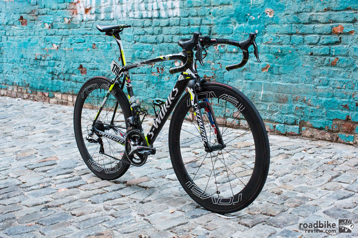 The frame is a Specialized S-Works Tarmac size 56cm.