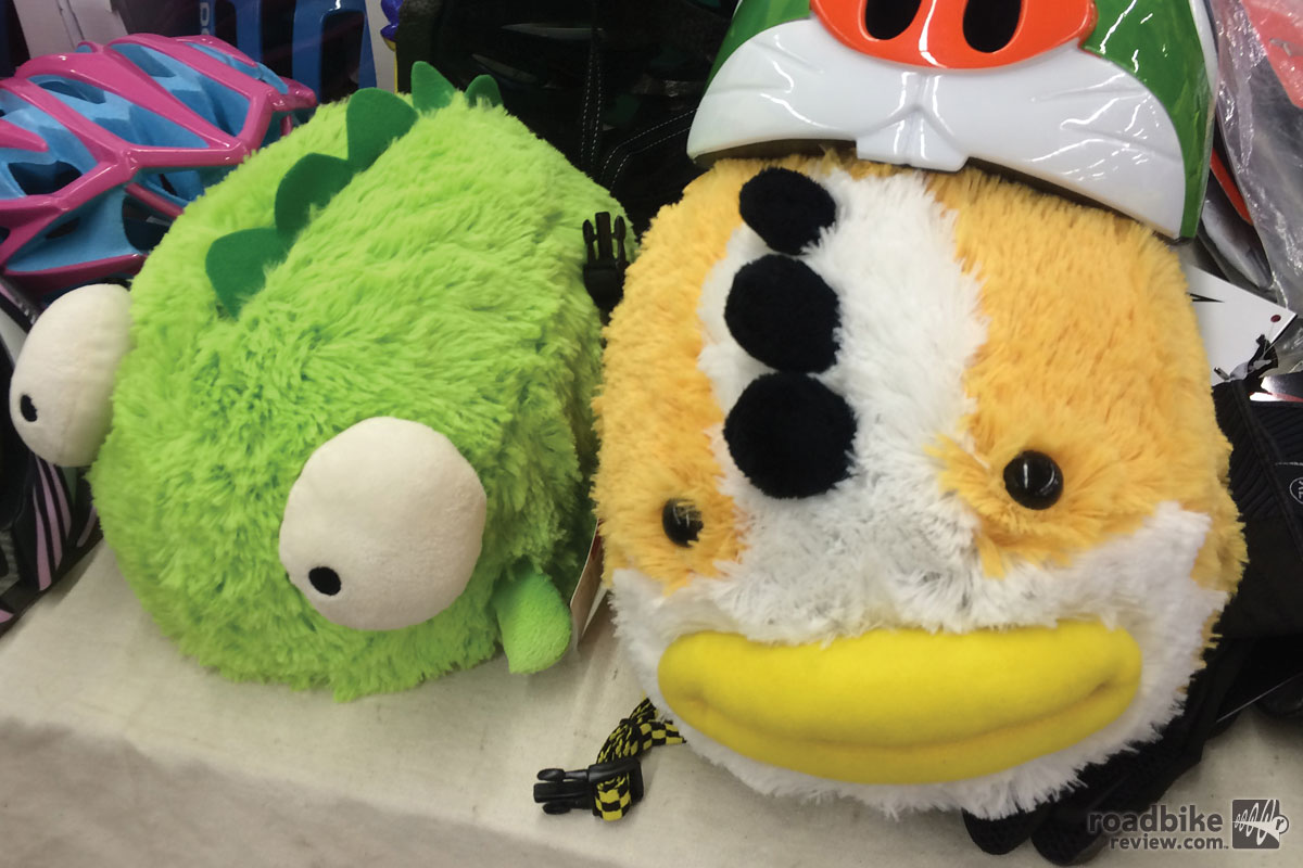 Hideous chicken and frog bicycle helmet