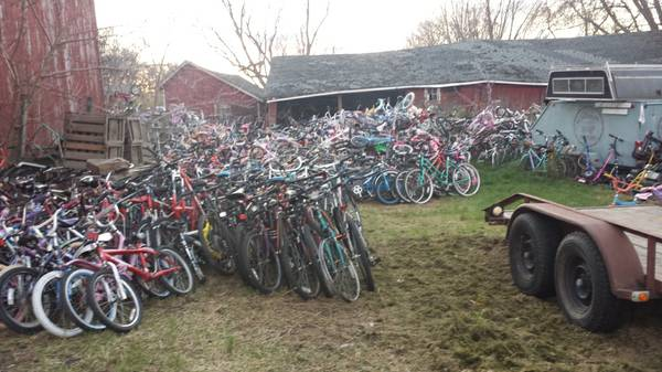 Make of bikes range from Trek and Schwinn to vintage stuff to your typical department store bikes.