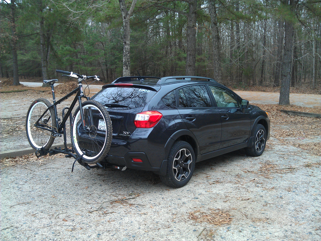 Subaru XV Crosstrek with bike on hitch rack