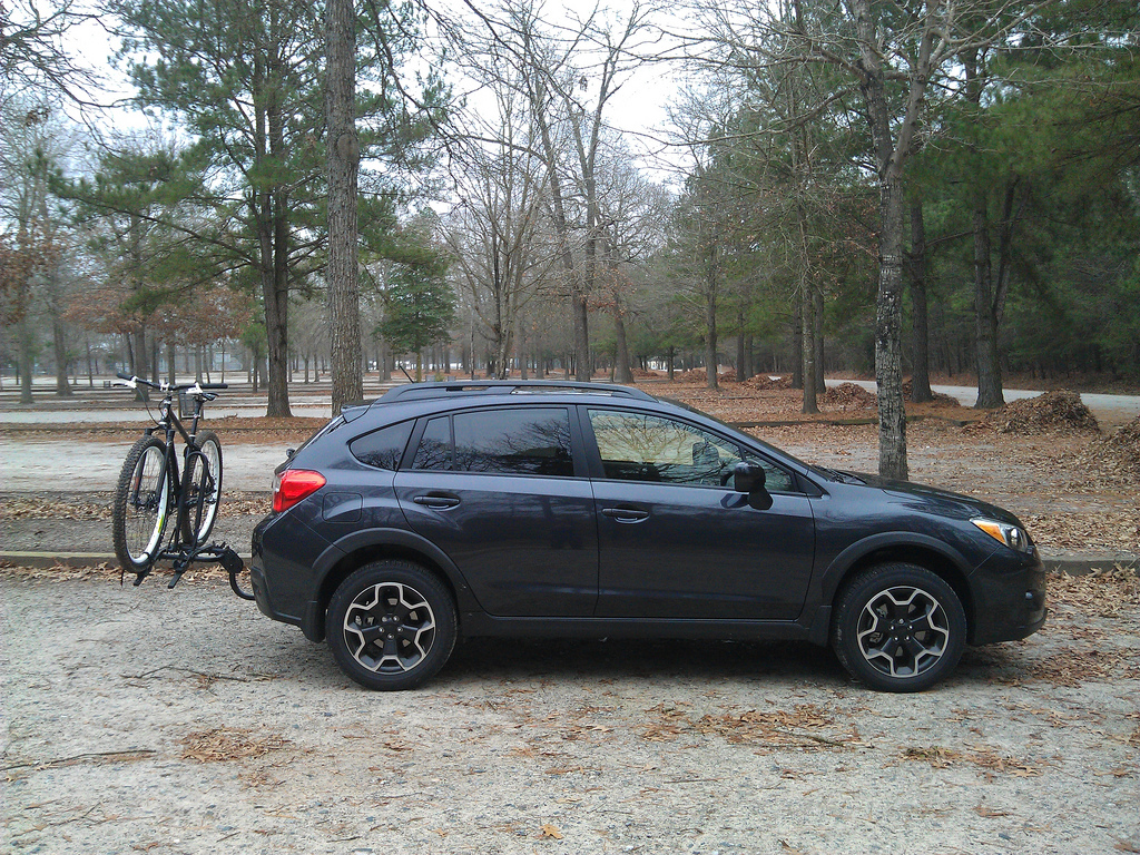 Subaru XV Crosstrek with bike from side