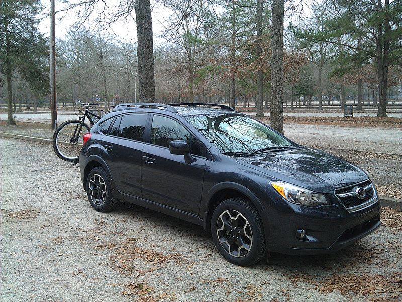 Subaru XV Crosstrek with bike from front side