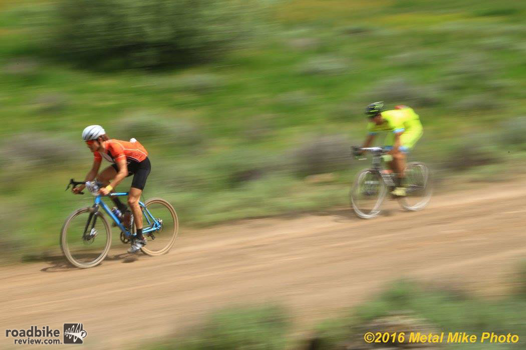 Ripping a descent with AJ Snovel. Photo by Metal Mike Photo