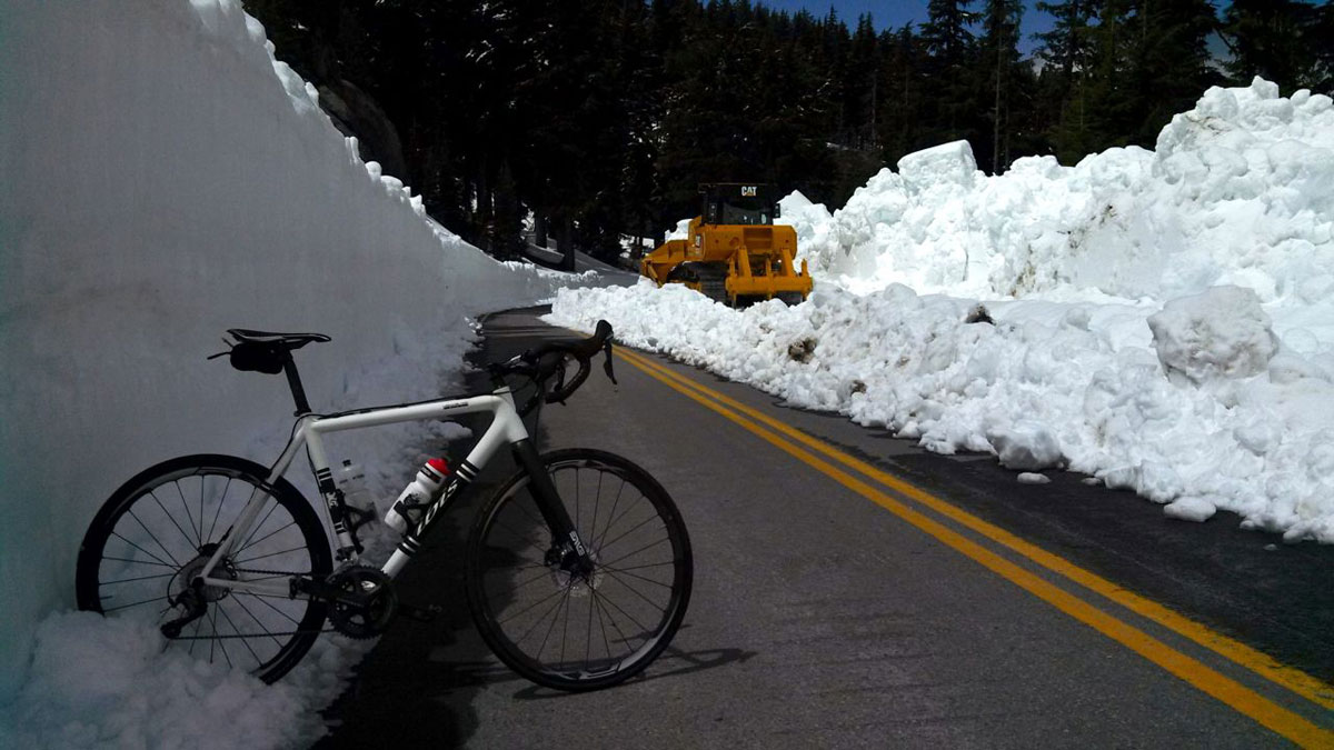Thankfully snow removal crews had been hard at work up until the day before I rode East Rim, just barely making the road passable.