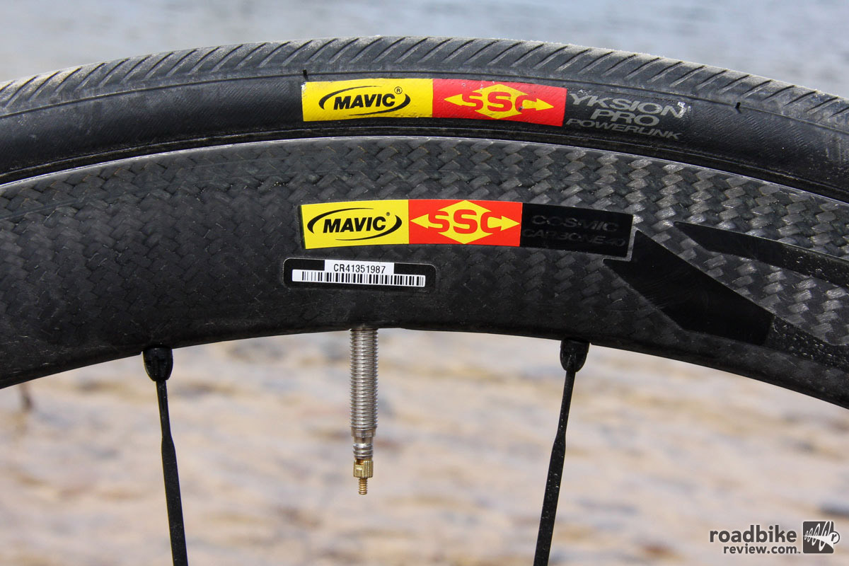 The Mavic CC40 wheels are a superbly stiff and aero wheel, but the narrow rim profile is less than ideal.
