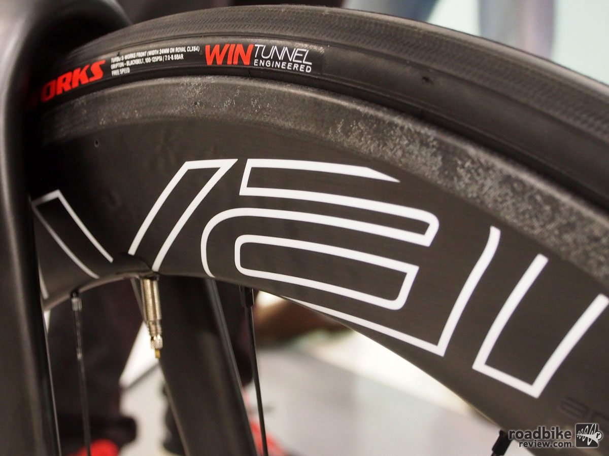 The new Roval CLX 64 wheels are 64mm deep with a 12mm high brake track and a 21mm internal rim width.