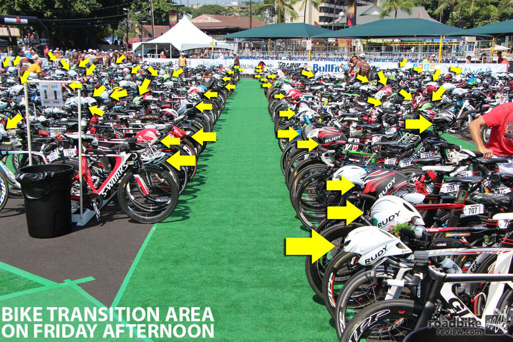 Rudy Project shared this photo of the bike transition area, which included a large number of its aero helmets.