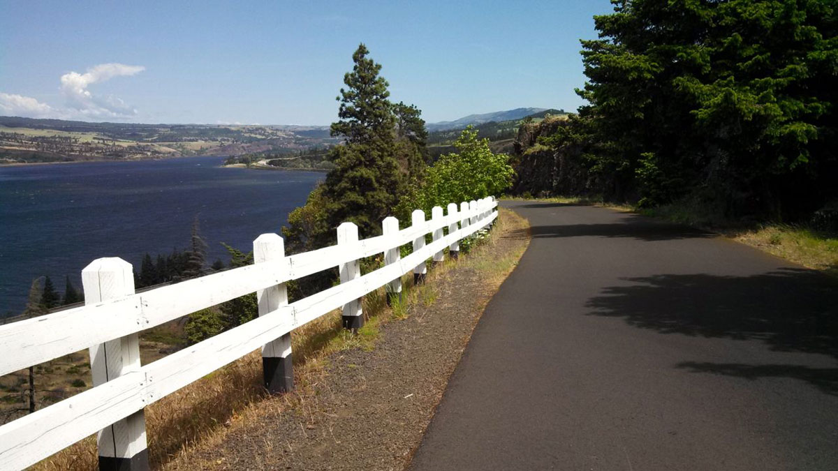 Perfect pavement, no cars, and stunning views are abundant along the Columbia River Gorge.
