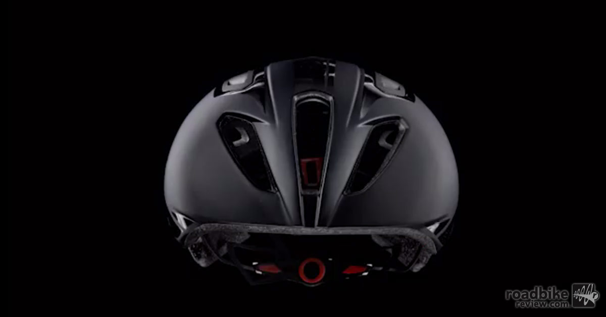 Three large vents in the front of the helmet draw air in.