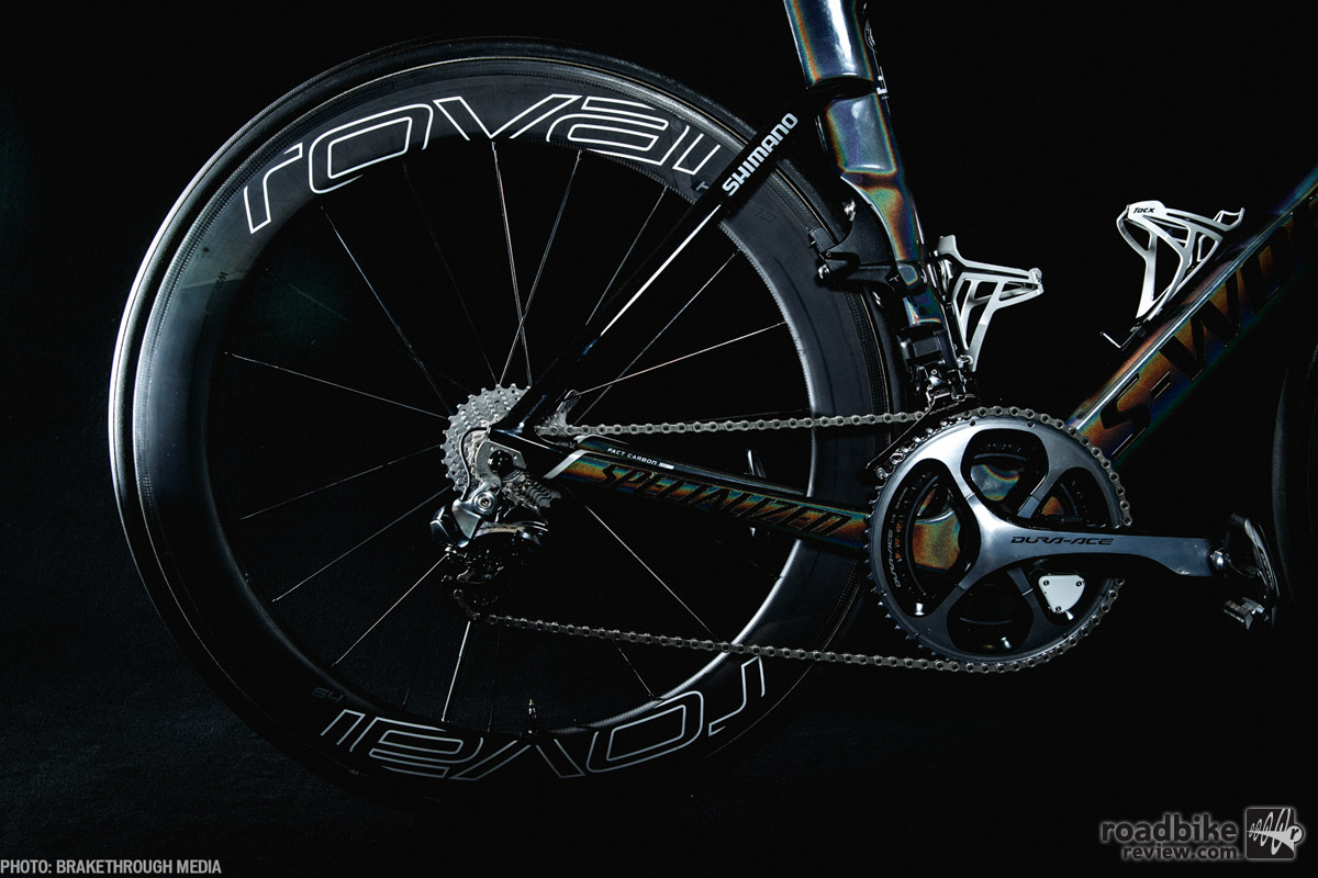 Sagan's new team is also sponsored by Specialized wheel brand Roval. Notice how neatly the rear wheel tucks inside this aero frame.