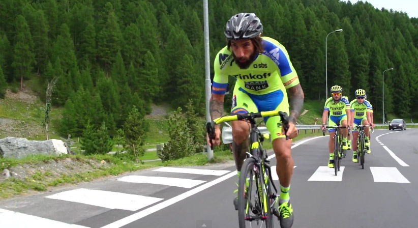 Brumotti leading out the Tinkoff Saxo team.