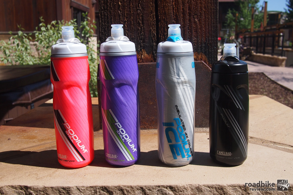 Just a few of the many new colorways for the Podium and Podium Ice bottles including the much requested all black version.