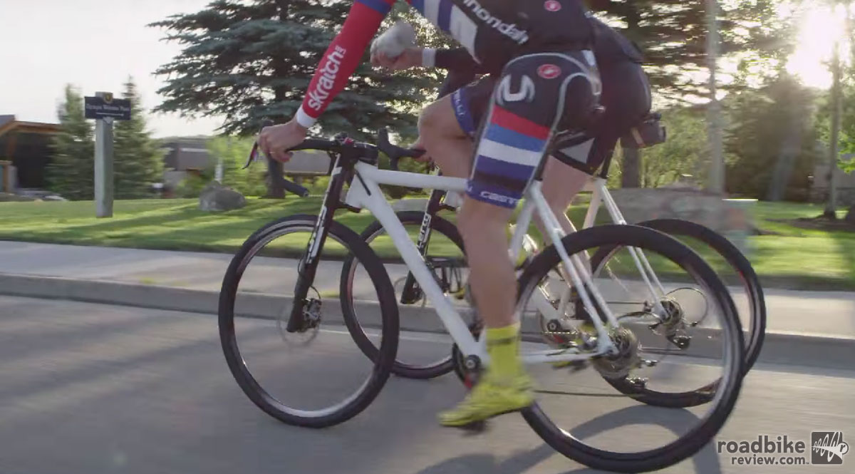 The bikes in the video are equipped with SRAM hydraulic disc brakes. Hopefully their upgrade to hydraulic when the bike is released.