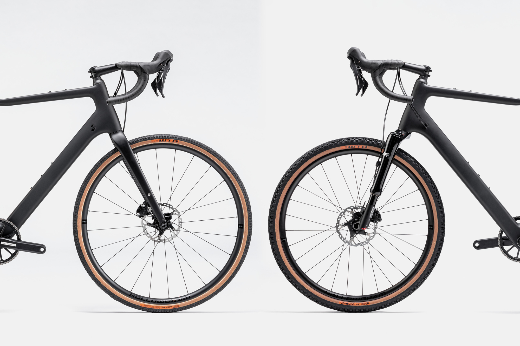 The Topstone frame with the standard carbon suspension fork and 700c wheels alongside the Topstone with the new Lefty Oliver and 650b wheels.