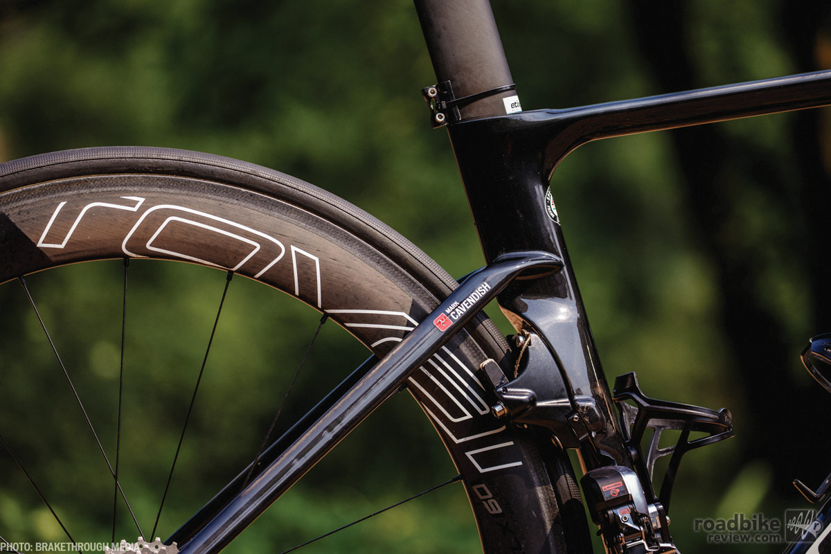 The rear brake is kept out of the wind behind the seat tube. Photo by Brakethrough Media