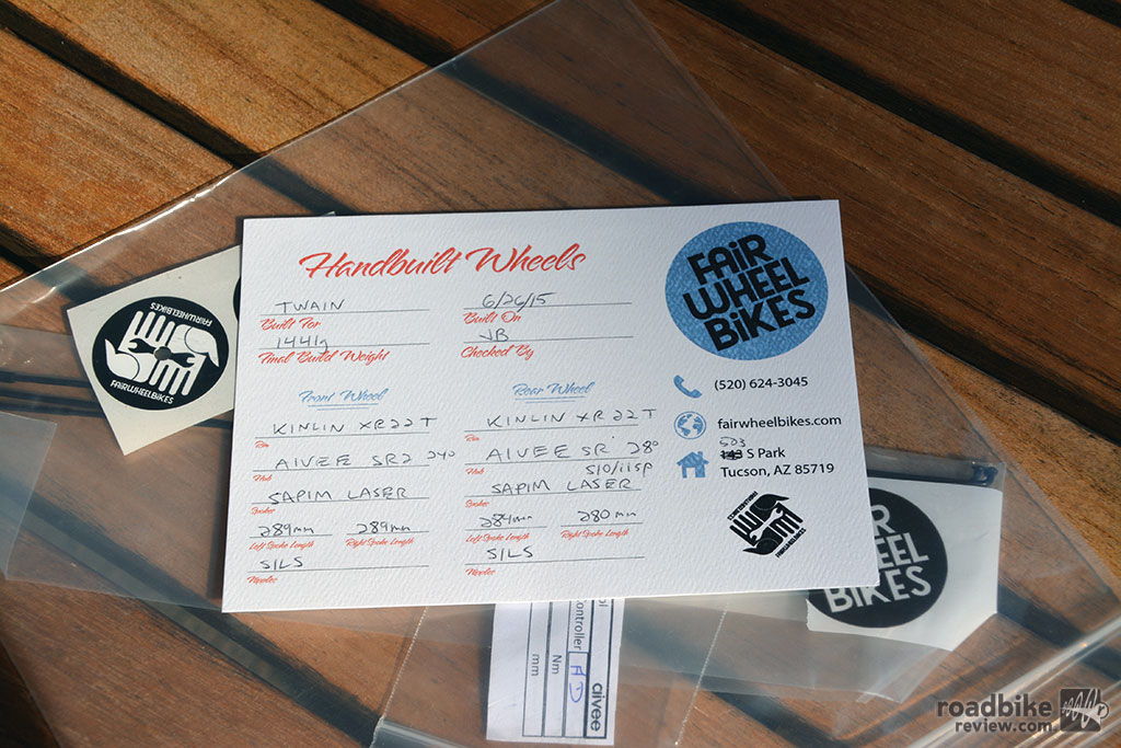 Each wheelset comes with a certificate of build spec.