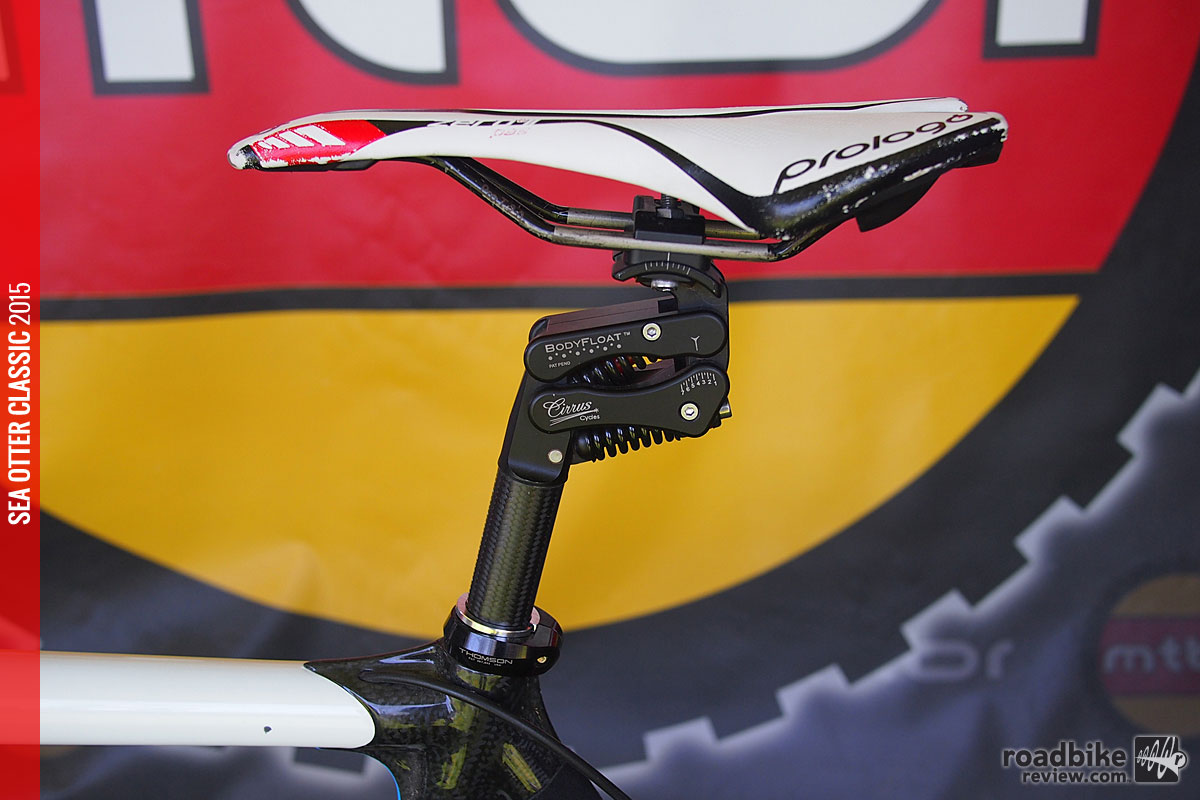 The BodyFloat isolation seatpost is designed to increase rider comfort and performance.