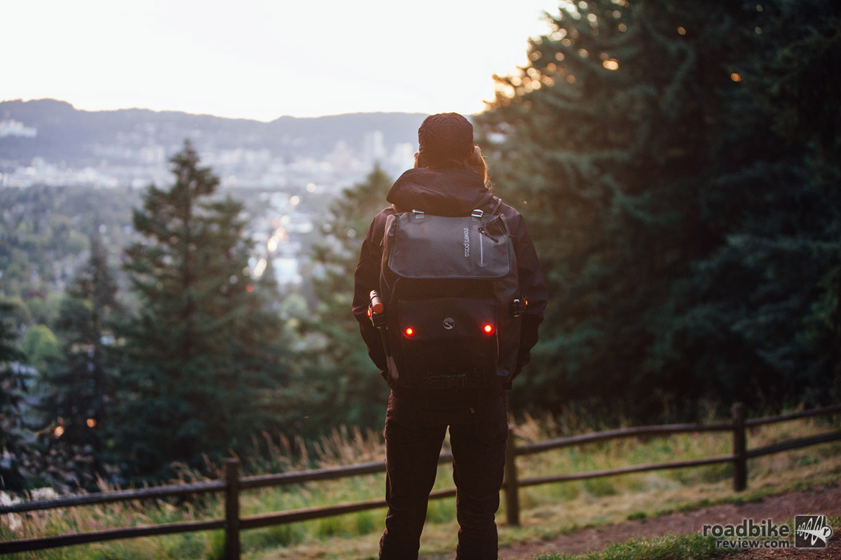 The Transit Backpack has been a great travel companion on and off the bike.