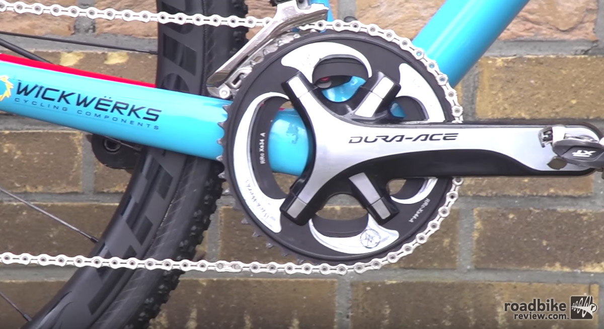 Shimano Dura Ace cranks are mated to WickWerks chainrings.