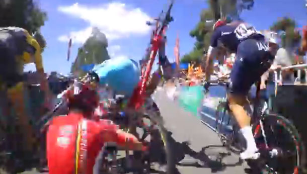 Video: Dramatic crash at end of Tour Down Under Stage 4