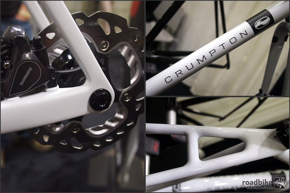 Close-ups of the flat mount disc brake, CRUMPTON logo on the down tube and seatstay forming.