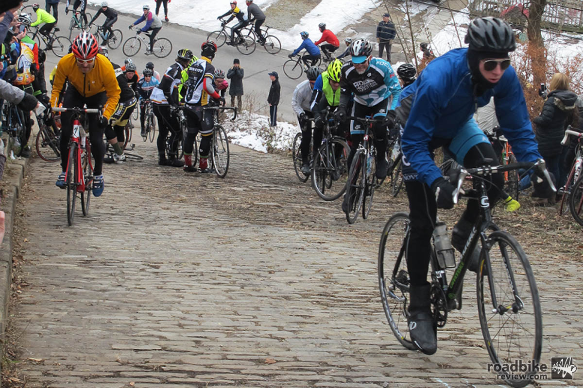 Riders try to tackle one of the steepest hills you'll ever ride up. Photo courtesy WESA