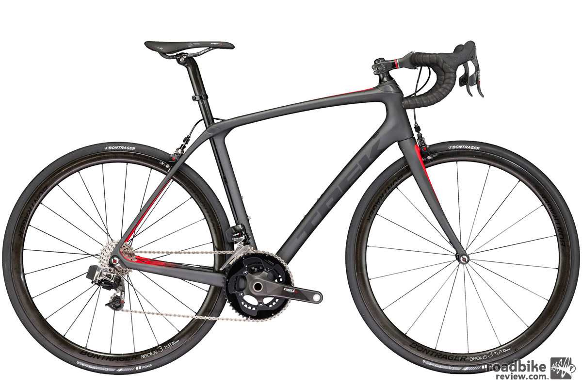 The top of the line Domane SLR with SRAM eTap wireless electronic shifting drivetrain. Price: $11,000; claimed weight 14.14 pounds.