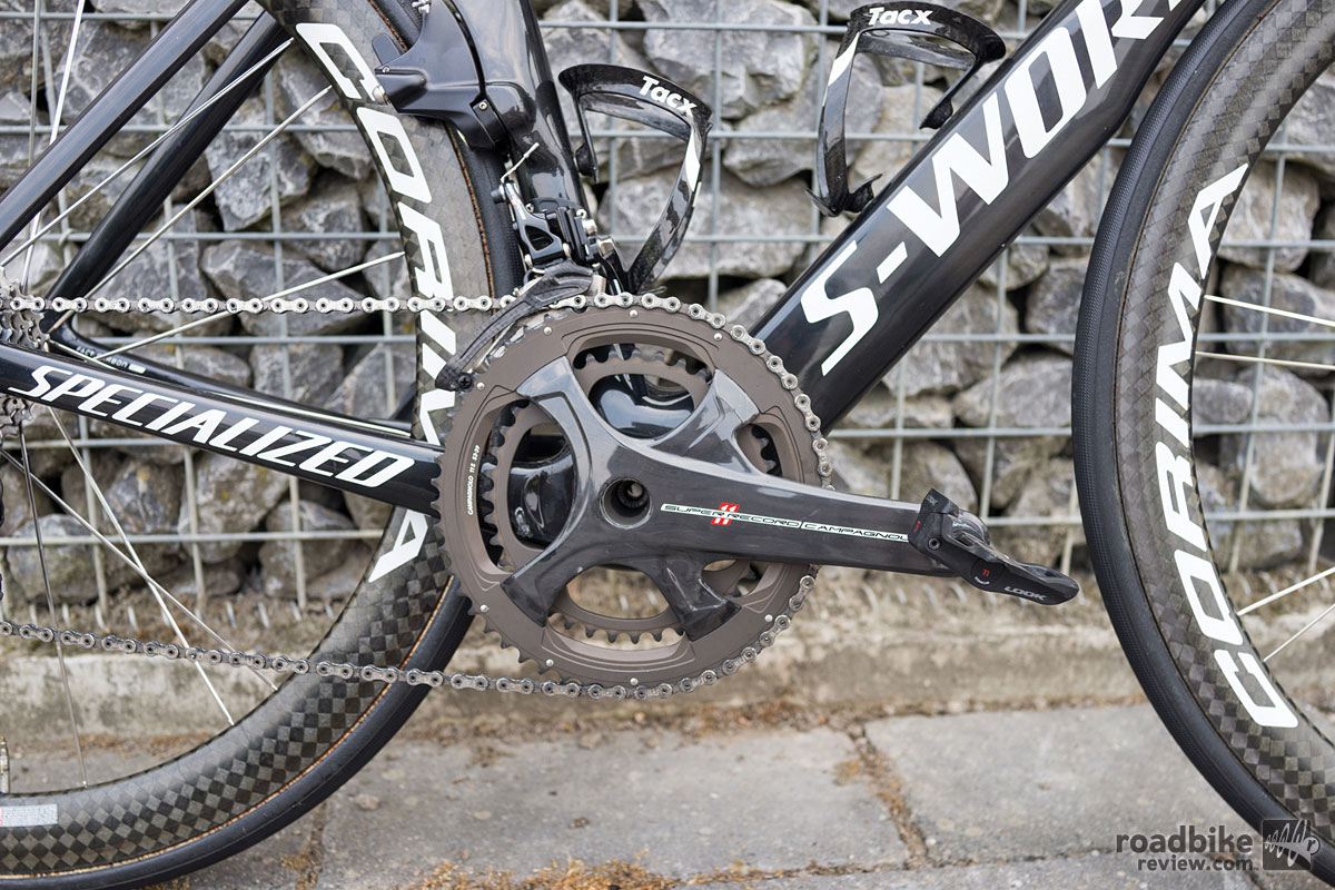 Carbon cranks are 175mm Campy Super Record, pedals are Look Keo Blade.