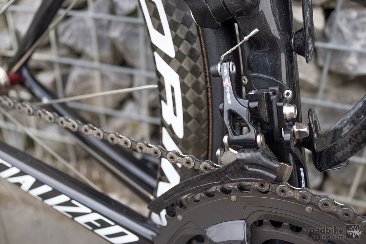 Campy's carbon cage derailleur helps keep weight low.