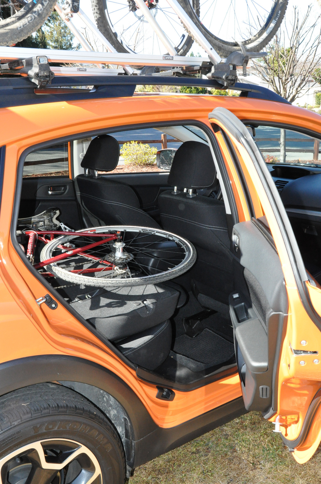Subaru XV Crosstrek with bike on rear