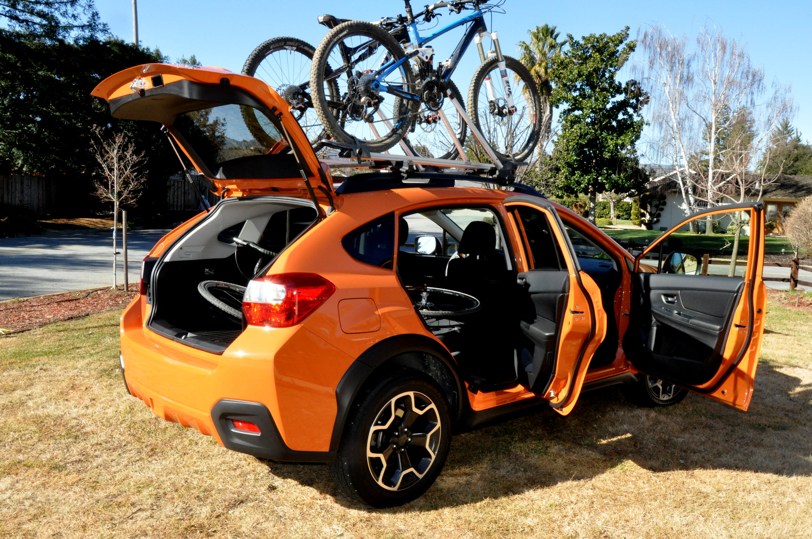 Subaru XV Crosstrek fully loaded with bikes