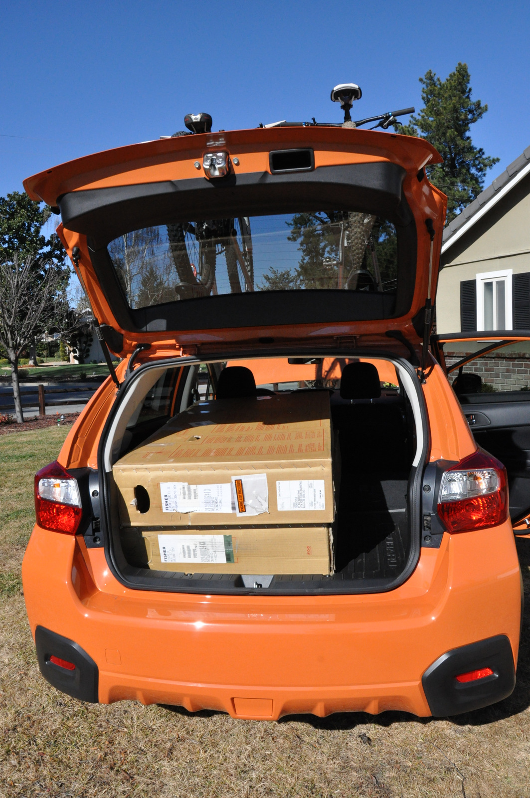 Subaru XV Crosstrek with two bike boxes