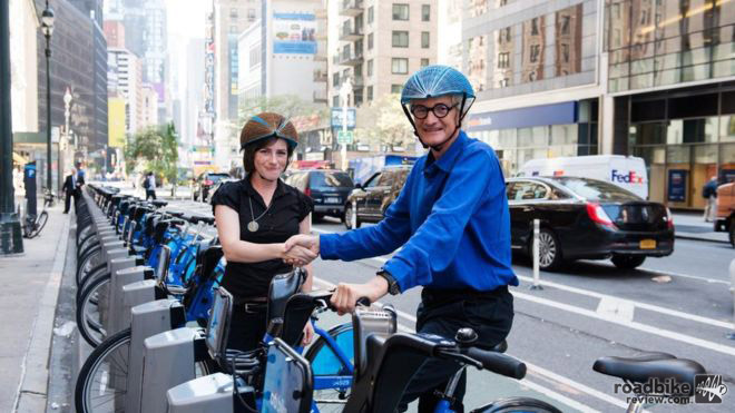 Bike share programs are an excellent way to explore a new city, but there's no good solution (yet) for accompanying helmets.