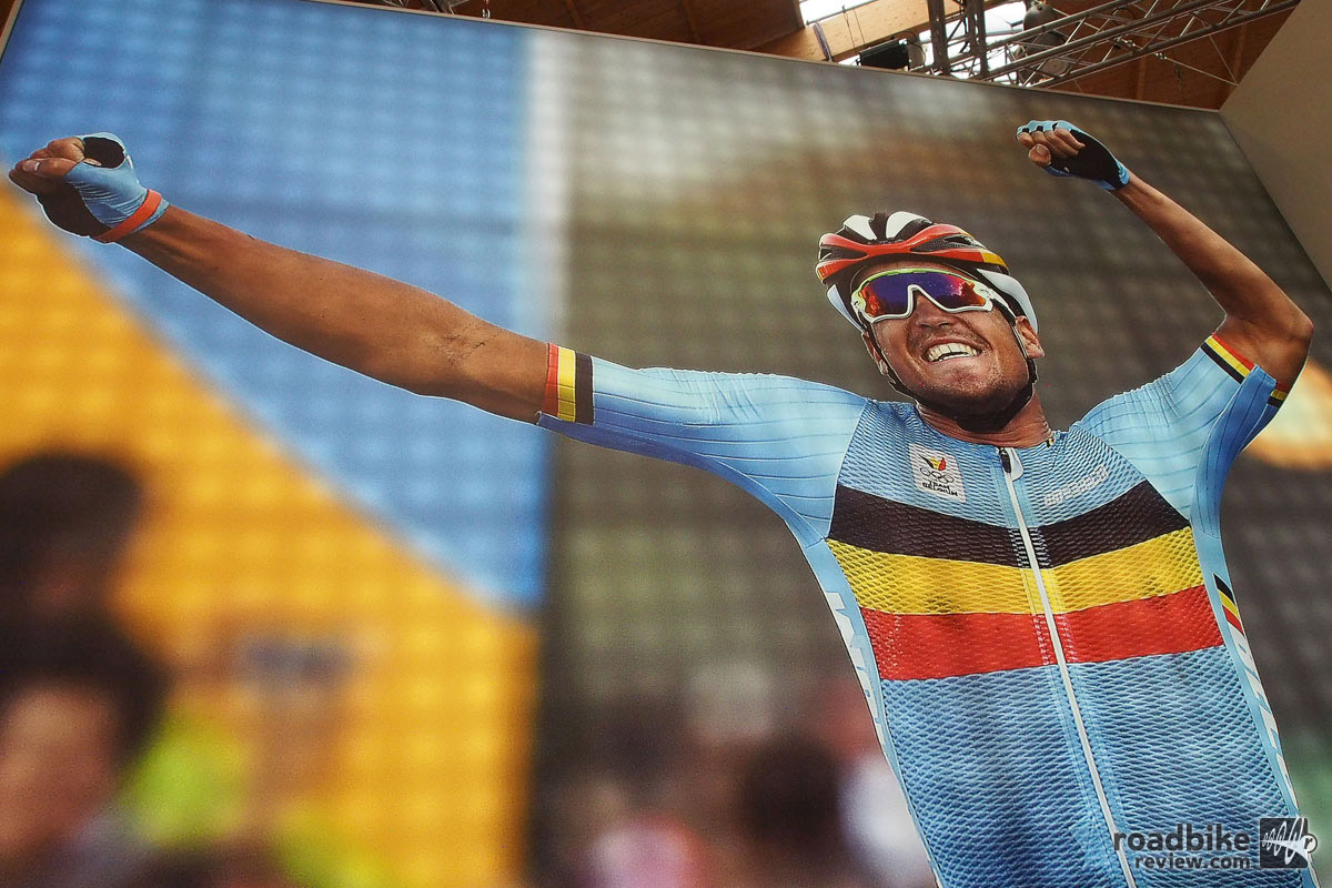 The Belgian rider had a superb summer, grabbing the yellow jersey at the Tour de France, then capturing the road race in Rio. For that he earned this bigger than life sized display inside the BMC trade show booth at Eurobike.