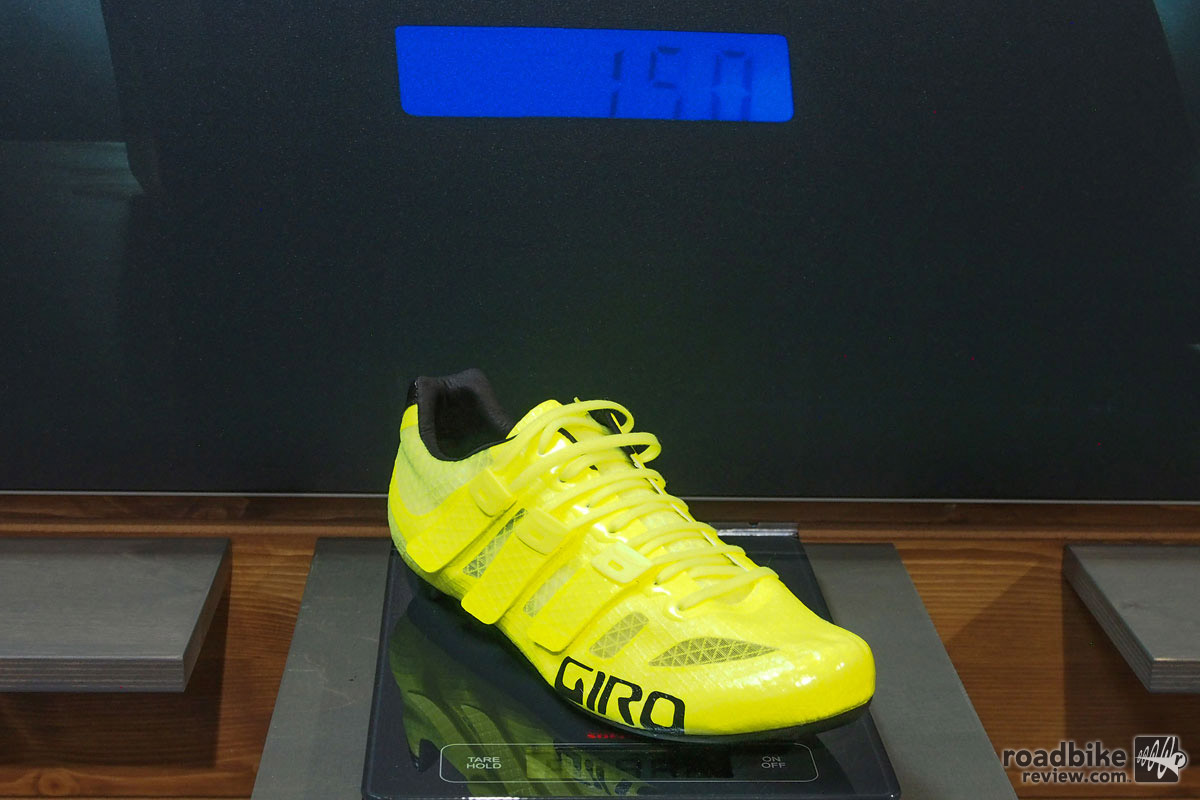 Meet the Prolight Techlace from Giro, a 150-gram ultra high end road shoe that employs Giro's new techlace technology where laces are combined with Velcro straps. They can be yours for a mere $500 and will be in stores April 1, 2017, no fooling. They also come in white if this bright yellow number doesn't work for you.