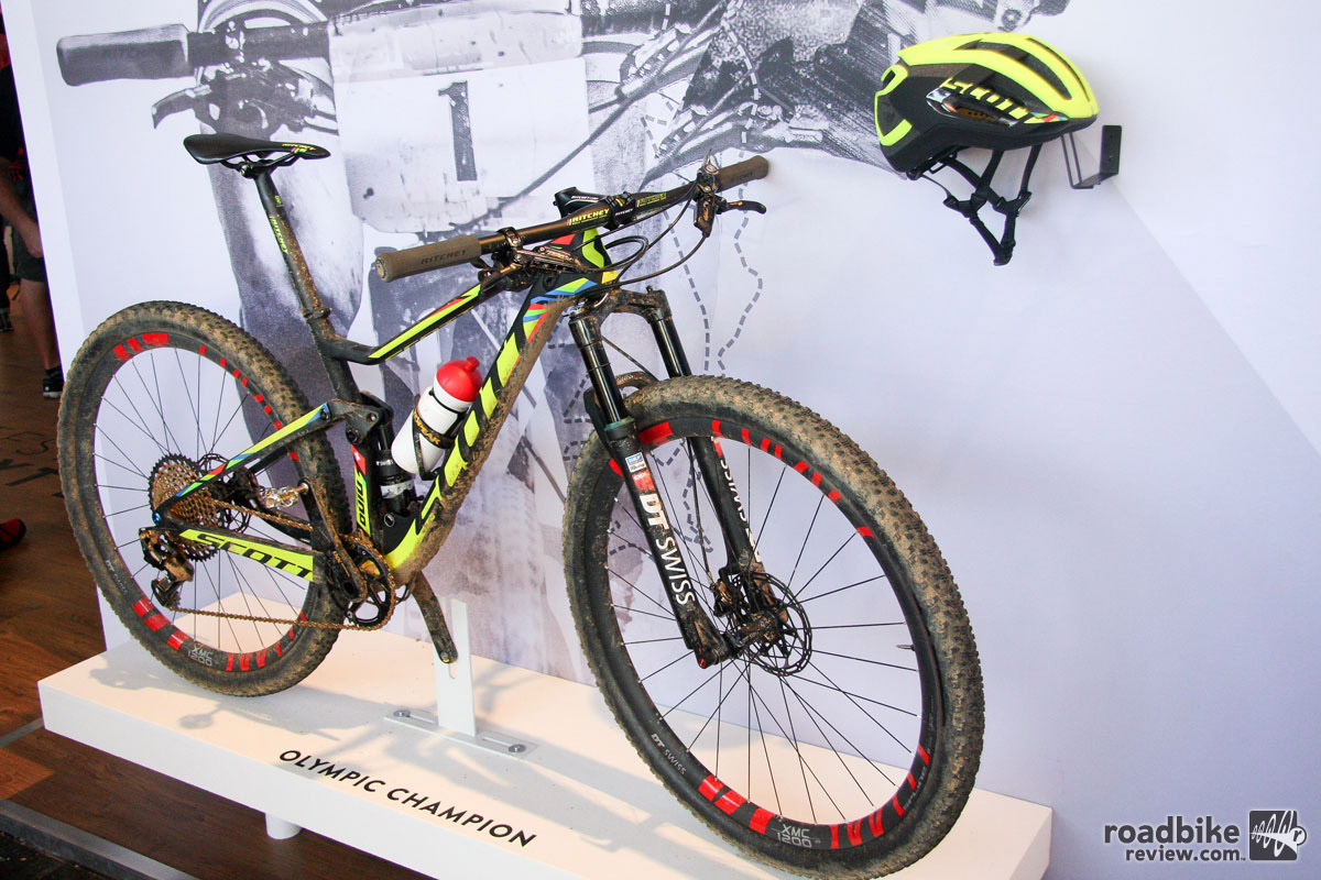 Eurobike is always filled with race winning bikes. This year's highlights include three rigs from Scott. Pictured here is Nino Schurter's Scott Spark RC 900, which delivered the Swiss star to Olympic cross-county gold in Rio last month.