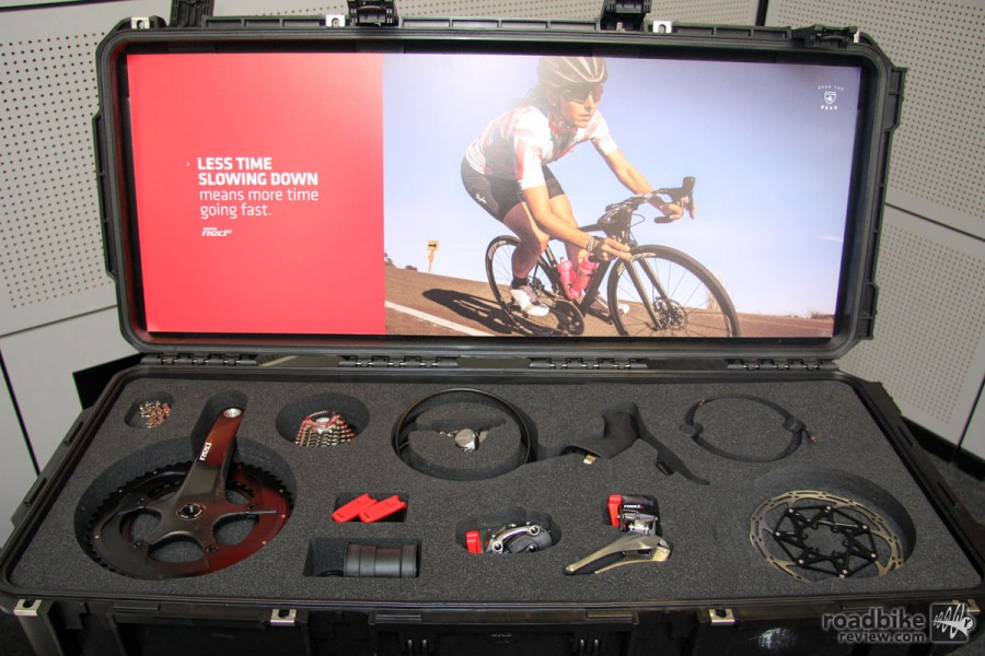A complete kit includes shift-brake controls and calipers, front derailleur with battery, rear derailleur with battery, battery charger, cord, adapters for US/EU/GB/AUS, USB firmware update dongle, and  CenterLine XTM Rotors 160mm with Ti hardware.