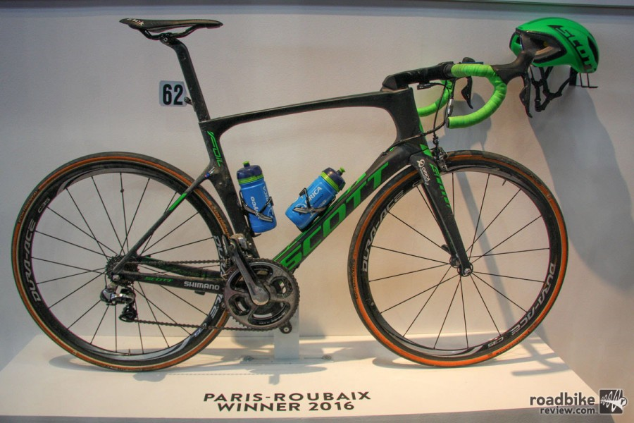 Scott wins the award for most big race winning bikes on display. Besides two MTB golds on their new Spark RC cross-country bike, the Swiss company was also showing off Matt Hayman's Paris-Roubaix winning Foil aero road bike.